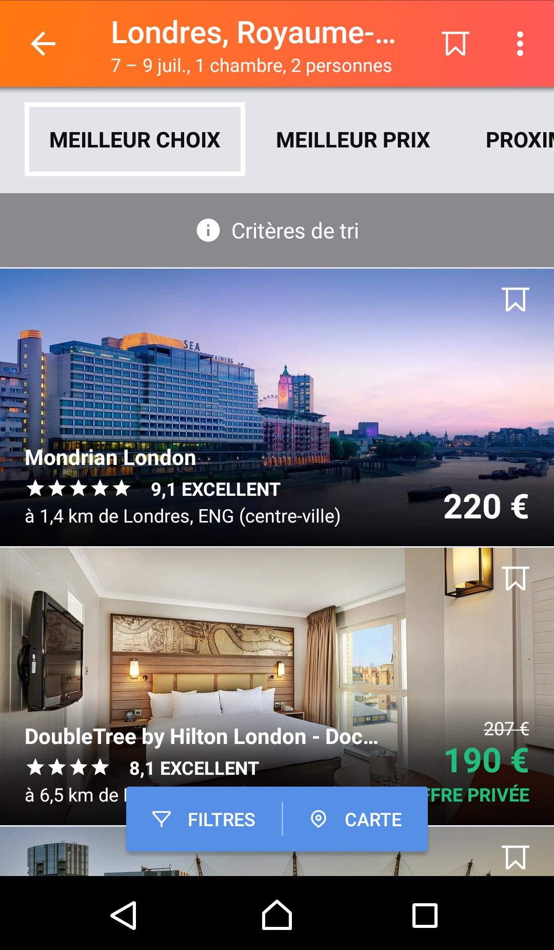 Offres d'hôtels